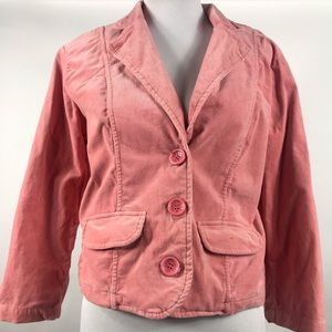 BB Dakota Women Pink Corduroy Button Blazer Large